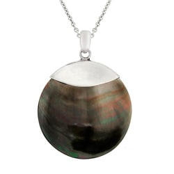 Glitzy Rocks Sterling Silver Grey Shell Disc Necklace