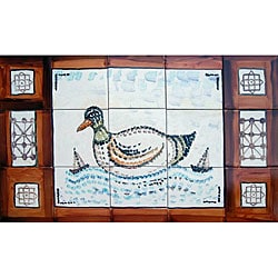 Mosaic 'Swimming Duck' 15-tile Ceramic Wall Mural