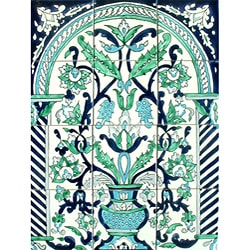 Arabesque Antique-style 12-tile Ceramic Wall Mosaic