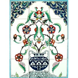 Flowery Vase 12-tile Ceramic Wall Mosaic