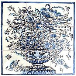 Cobalt Blue Floral Vase 9-tile Ceramic Mosaic