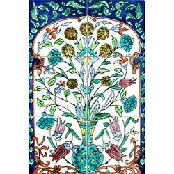 Mosaic 'Turquoise Floral Pot' 6-tile Ceramic Mural
