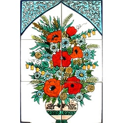 Mosaic 'Exotic Floral Pot' 6-tile Ceramic Mural