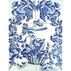 Mosaic 'Blue Mix' 6-tile Ceramic Wall Mural