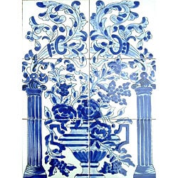 Mosaic 'Blue Mix Floral' 6-tile Ceramic Mural