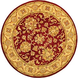 Safavieh Handmade Antiquities Jewel Red/ Ivory Wool Rug (3'6 Round)