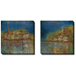 Maeve Harris 'City by the Sea I and II' 2-piece Canvas Art Set