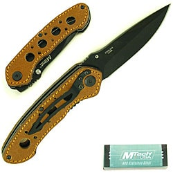 Leather Handle 8-inch Folding Pocket Knife
