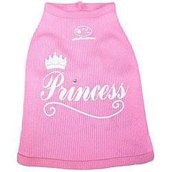 Pink Cotton Silk-screened Rhinestone-dotted Princess Dog Tank Top