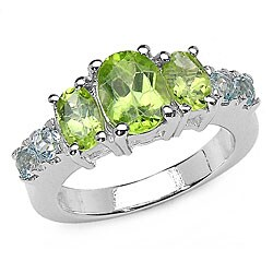 Malaika Sterling Silver Peridot and Blue Topaz Ring (Size 7)