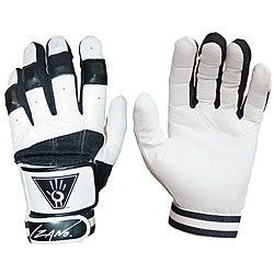Youth White and Black Large Weighted Leather and Velcro Batting Gloves
