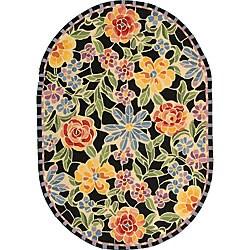 Safavieh Hand-hooked Mosaic Black Wool Rug (7'6 x 9'6 Oval)