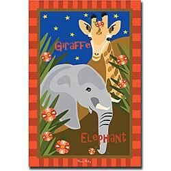 Grace Reily 'Giraffe and Elephant' Canvas Art