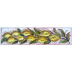 Mosaic 'Lemon Theme' 4-tile Ceramic Wall Mural
