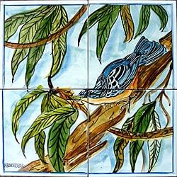 Mosaic Blue Floralbird 4-tile Ceramic Wall Mural