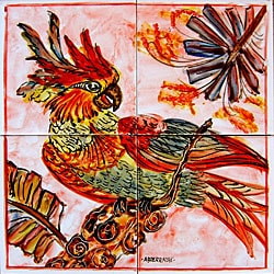 Mosaic 'Parrot Theme' 4-tile Ceramic Wall Mural