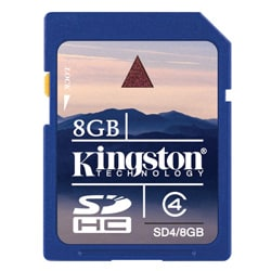 Kingston 8 GB Class 4 SDHC SD Memory Card