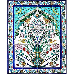 Large Floral Arch 20-tile Ceramic Wall Mural Art