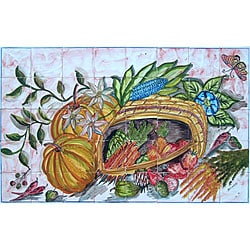 Mosaic 'Kitchen Decor' 40-tile Ceramic Wall Mural