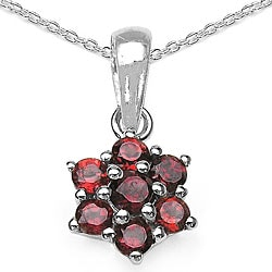 Malaika Sterling Silver Garnet Cluster Flower Necklace