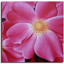 Hand-painted 'Pink Blooms' Canvas Art