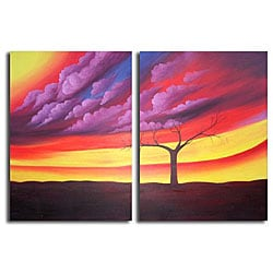 Hand-painted 'Purple Storm' Canvas Art