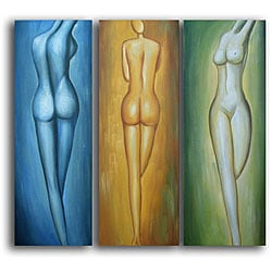 Hand-painted 'Female Figures' Canvas Art