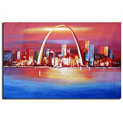 Hand-painted 'Gateway to the West' Canvas Art