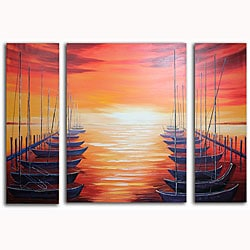 Hand-painted 'Lonely Boats' Canvas Art