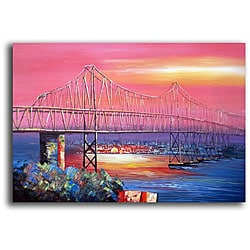 Hand-painted 'The Bay Bridge' Canvas Art