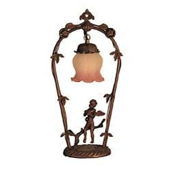 Violin Cherub Pink/ White Melon Flower Lamp