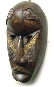 Boule Sese Wood, Brass Mask (Ghana)