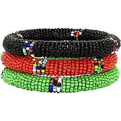 Set of Three Green/ Red/ Black Massai Bangles (Kenya)