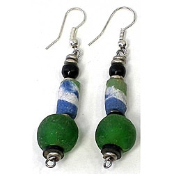 Handcrafted Recycled Green Glass Bead Earrings (Kenya)