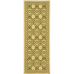 Safavieh Indoor/ Outdoor Tropics Natural/ Olive Runner (2'4 x 6'7)