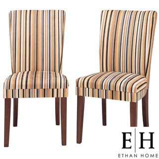 ETHAN HOME Parson Striped Upholstered Dining Chair (Set of 2)