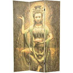 Kwan Yin with Lotus 6-foot Bamboo Room Divider (China)