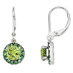 Miadora 14k Gold Peridot And Tsavorite Earrings