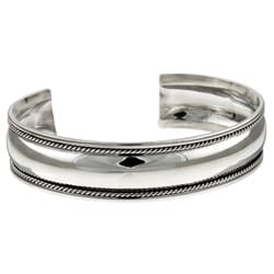Sterling Essentials Sterling Silver 7-inch Antique Finish Cuff Bracelet