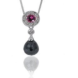 Michael Valitutti 14k Gold Black Spinel and Rubellite Necklace