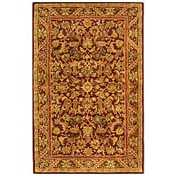 Safavieh Handmade Exquisite Wine/ Gold Wool Rug (5' x 8')