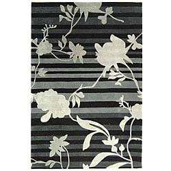 Safavieh Handmade Portrait Black/ Grey N. Z. Wool Rug (3'6 x 5'6)