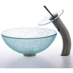 Kraus Mosaic Broken Glass Sink and Waterfall Faucet