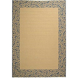 Safavieh Indoor/Outdoor Natural/Blue Synthetic Rug (5'3 x 7'7)
