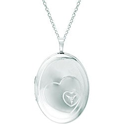 Sterling Silver Heart and Diamond Locket Necklace