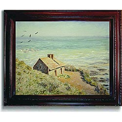 Monet 'The Customs Hut, Morning' Framed Canvas Art