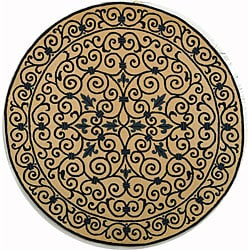 Safavieh Hand-hooked Iron Gate Ivory/ Navy Blue Wool Rug (5'6 Round)