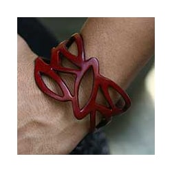 Leather 'Crimson Nest' Wristband Bracelet (Indonesia)