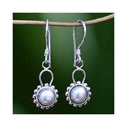Pearl 'Silver Moonlight' Drop Earrings (Indoensia)