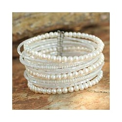 Tantalizing Rows of Crystal Beads and White Pearls on Stainless Steel Wire Adjustable Womens Fashion Cuff Bracelet (Thailand) 5430787